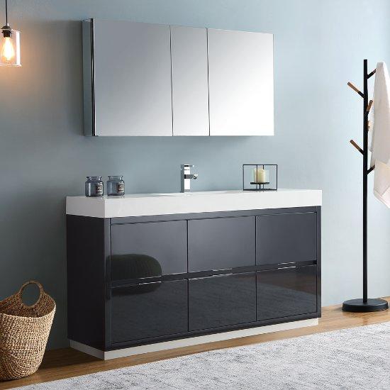Fresca Valencia 60 Dark Slate Gray Free Standing Modern Bathroom Vanity W Cine Cabinet