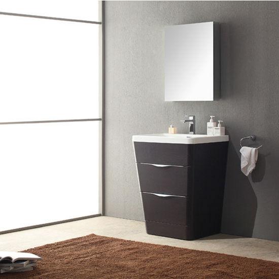 Milano Modern Bathroom Vanity W Medicine Cabinet Set By Fresca - Installing bathroom vanity with floor plumbing