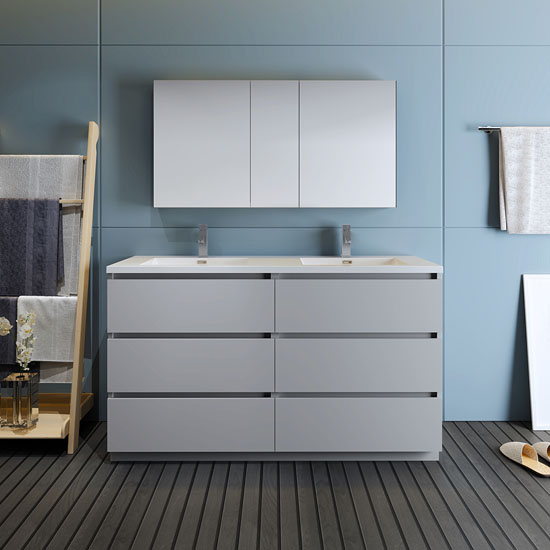 """60"""" Gray with Medicine Cabinet and Sink Front View"""
