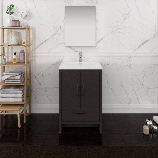 "24"" Dark Gray Oak Full Vanity Set Front View"