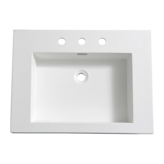 "Fresca Potenza 28"" White Integrated Sink / Countertop, 27-3/8"" W x 20-3/8"" D x 5"" H"