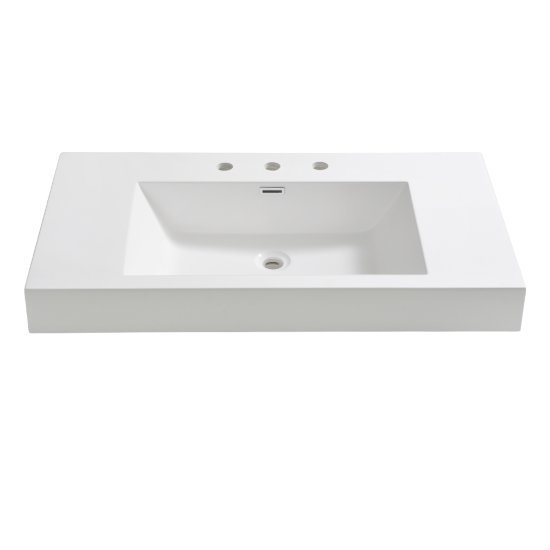 "Fresca Vista 36"" White Integrated Sink / Countertop, 35-3/8"" W x 18-3/4"" D x 4"" H"