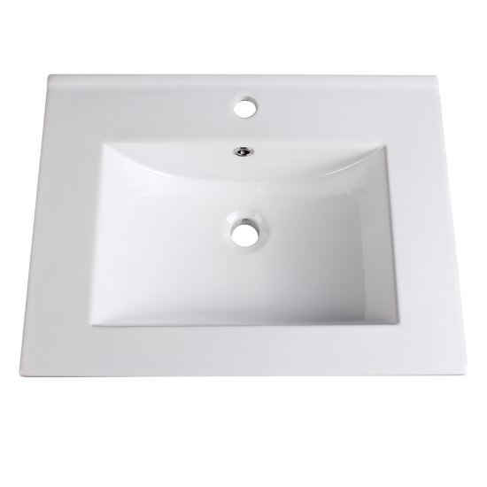 """Fresca Allier 24"""" White Integrated Sink / Countertop, 24"""" W x 18-1/4"""" D x 5/8"""" H"""