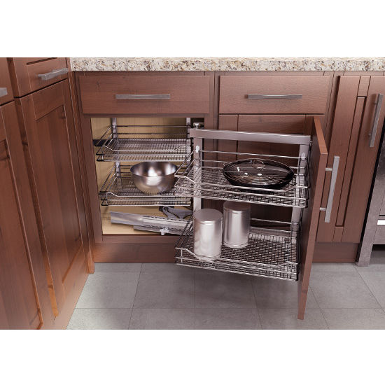 "Corner Kitchen Sink Organizers: ""COR Fold"" Corner Base Cabinet & Blind Corner Swing-Out"