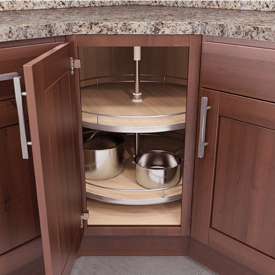 Lazy susans lazy susan corner base wall cabinet set w for Bottom corner kitchen cabinets