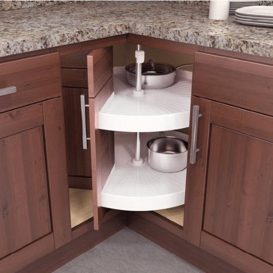 "Cutting Kitchen Cabinets: ""VSusan"" Pie-Cut Door-Mounted Lazy Susan For Corner"