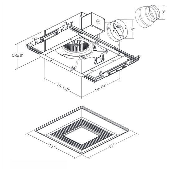 Fv Whisper Fit Ez Low Profile Ceiling Bathroom Fan W Light Nightlight 80 110 Cfm