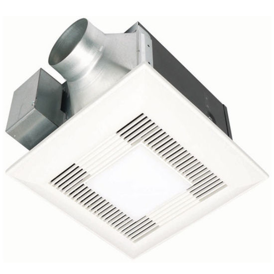 "Panasonic 150 CFM Ceiling mounted bathroom fan with light, 6"" Duct"