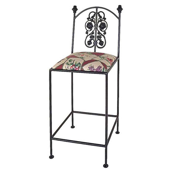 Grace Collection Rose Garden Bar Stool with Arms & Finials