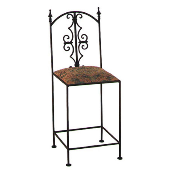 Grace Collection Gothic Bar Stool with Decorative Back and Fabric Seat 18""