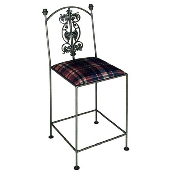 Grace Collection Vineyard Bar Stool with Decorative Back and Fabric Upholstered Seat 18""