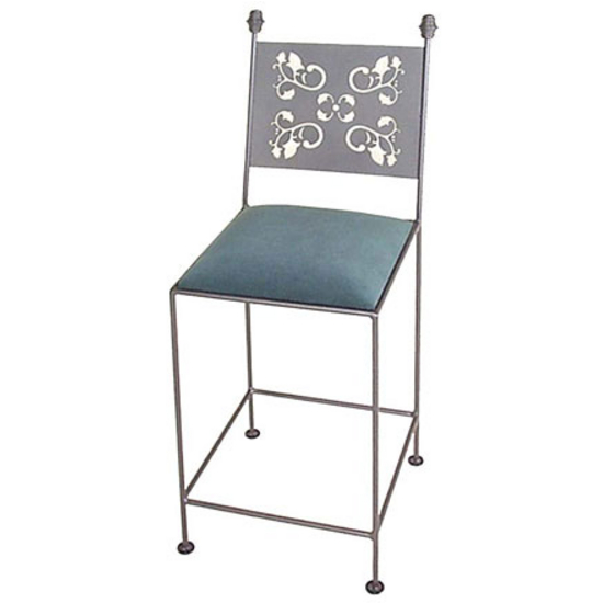 Grace Collection Leaves Bar Stool with Decorative Back and Fabric Seat 18""
