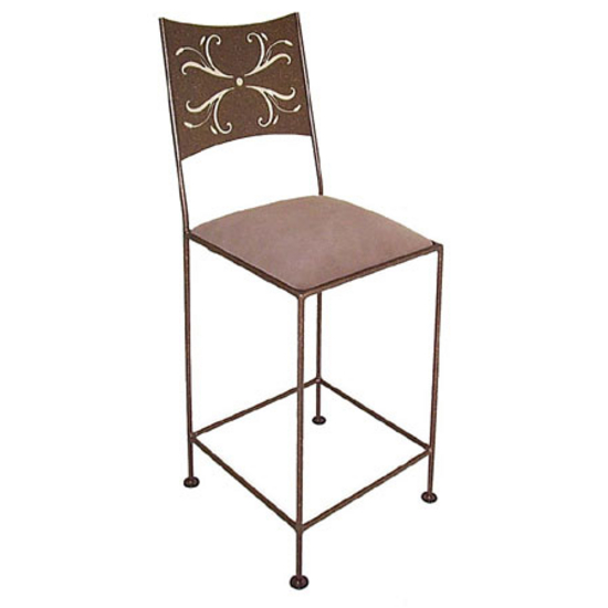 Grace Collection Wheat Bar Stool with Decorative Back and Fabric Upholstered Seat 18""