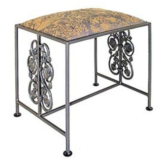 Grace Collection Rose Garden Iron Bench in Gun Metal