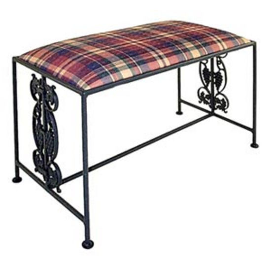 Grace Collection Vineyard Iron Bench in Satin Black