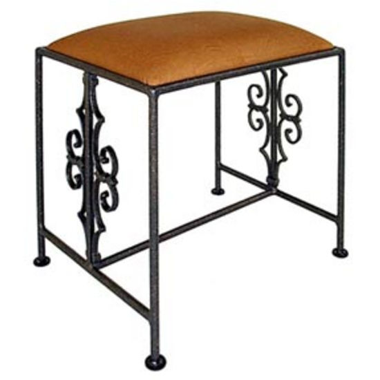 Grace Collection French Traditional Iron Bench in Ivory