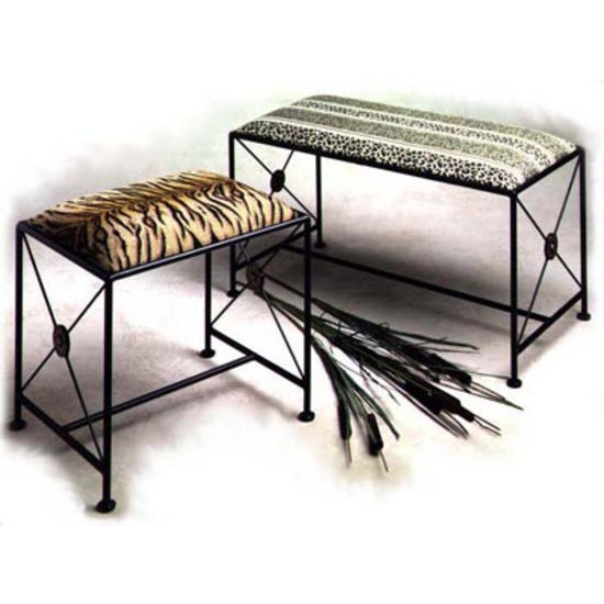 Grace Collection Neo Classic Iron Bench in Satin Black