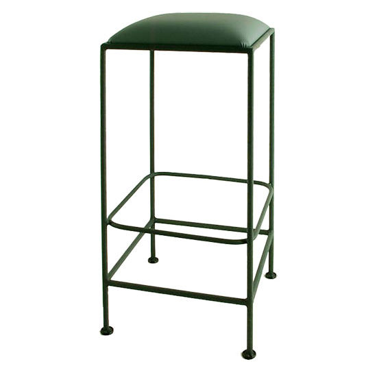 "Grace Collection 24"" Iron Bar Stool in a Variety of Finishes with Square Upholstered Seat"