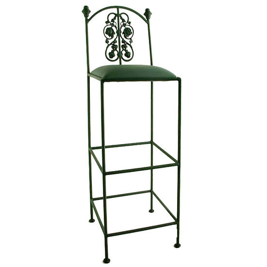 "Grace Collection 36"" Iron Bar Stool with Rose Design in a Variety of Finishes"