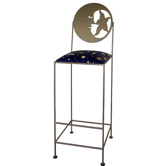 Grace Collection Celestial Bar Stool with Moon Silhouette Back and Fabric Seat 18""