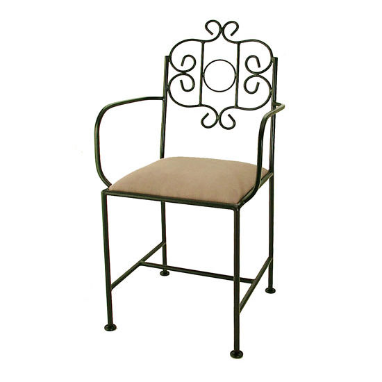 Grace Collection French Traditional Bar Stool with Decorative Back and Fabric Seat 18""