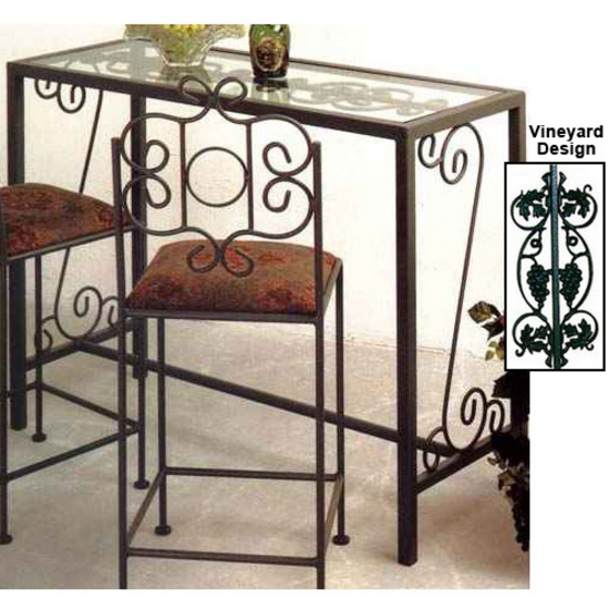 Bar tables vineyard bar console table with glass insert for Kitchen table with glass insert