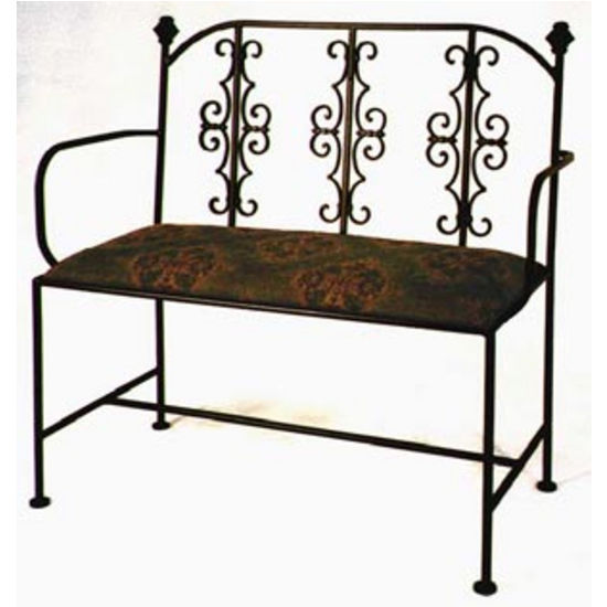 Grace Collection Gothic Iron Loveseat in Satin Black