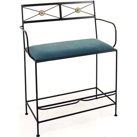 Grace Collection Neoclassic Spectator Bench with Arms in Jade Teal