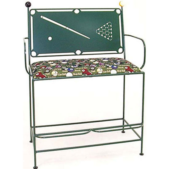 Grace Collection Spectator Bench with Pool Table Backrest in Jade Teal