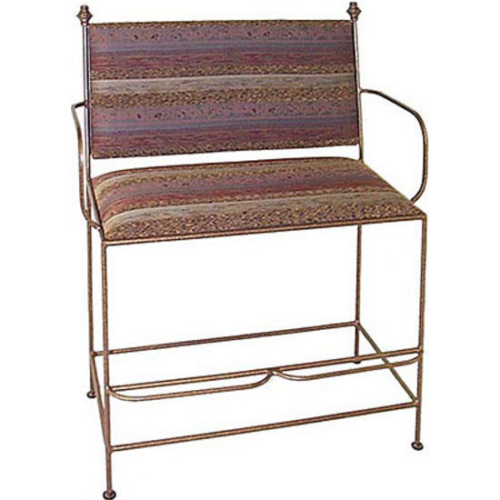Grace Collection Spectator Bench w/ Upholstered Back & Arms in Aged Iron