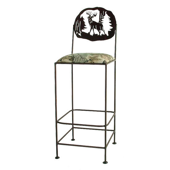 "Grace Collection 24"" Bar Stool with Deer Design in a Variety of Finishes"