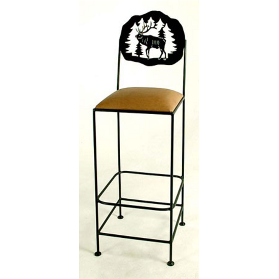 "Grace Collection 24"" Bar Stool with Elk Design in a Variety of Finishes"