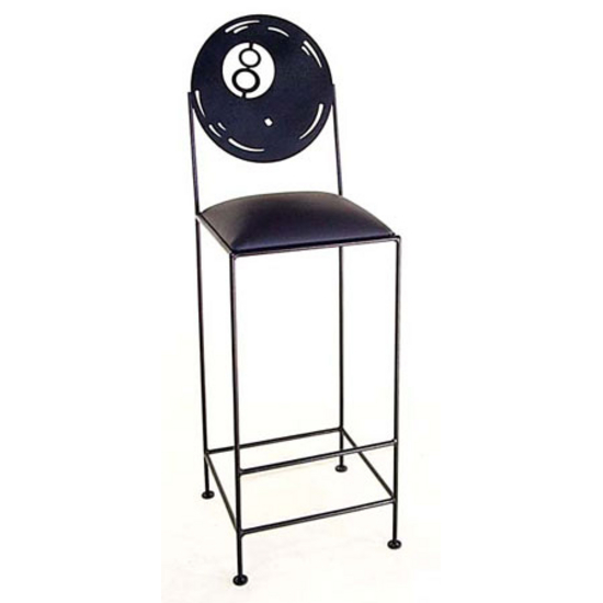 Grace Collection Black 8-Ball Bar Stool with Fabric Seat 24""