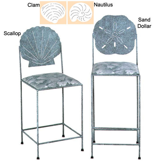 Grace Collection Sea-Style Bar Stool with Decorative Clam Back and Fabric Upholstered Seat 18""