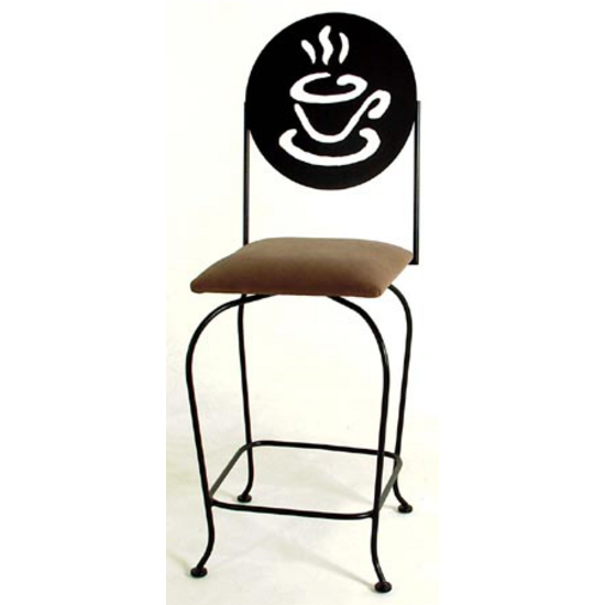 Grace Collection Bar Stool with Silhouette Back and Fabric Seat 24""