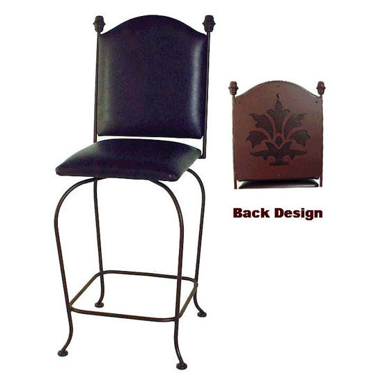 Grace Collection Wrought Iron Upholstered Back Bar Stool with Swivel Fabric Seat 24""