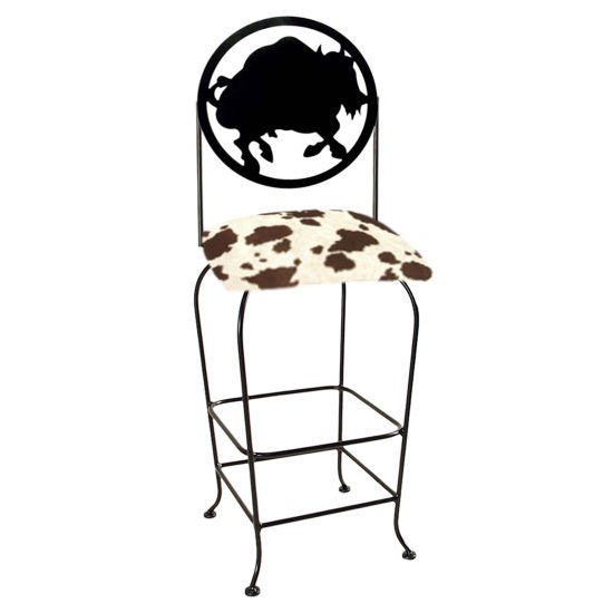 "Grace Collection Western Theme Buffalo Silhouette 30"" Seat Height Swivel Bar Stool"