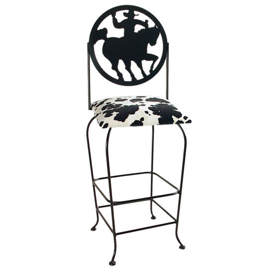 "Grace Collection Western Theme Cowboy Silhouette 30"" Seat Height Swivel Bar Stool"