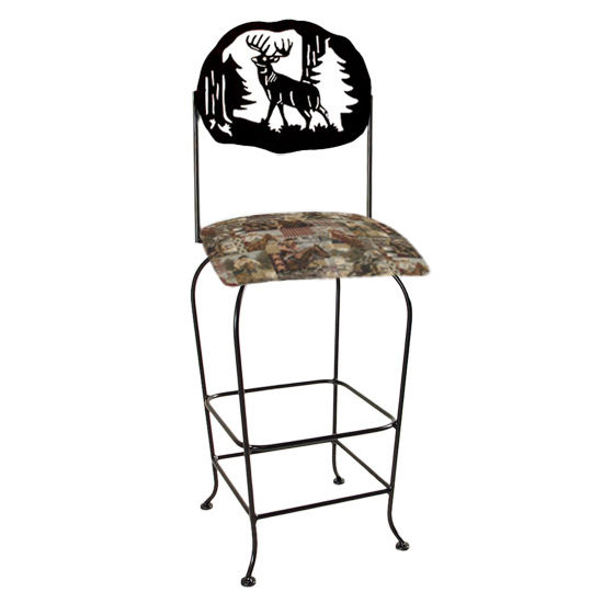 "Grace Collection Lodge Theme Deer Silhouette 30"" Seat Height Swivel Bar Stool"