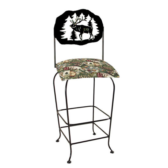 "Grace Collection Lodge Theme Elk Silhouette 30"" Seat Height Swivel Bar Stool"
