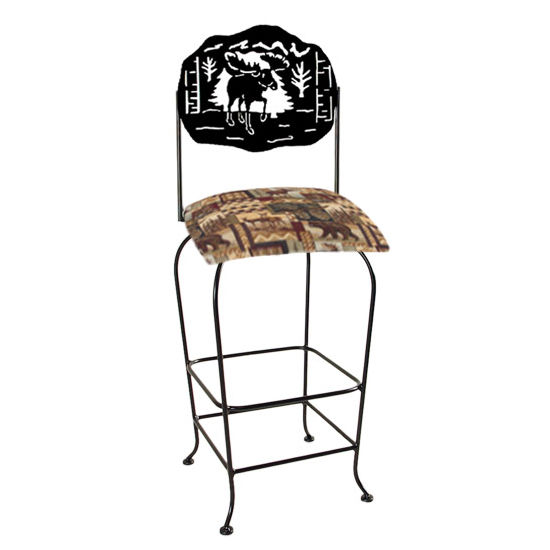 "Grace Collection Lodge Theme Moose Silhouette 30"" Seat Height Swivel Bar Stool"