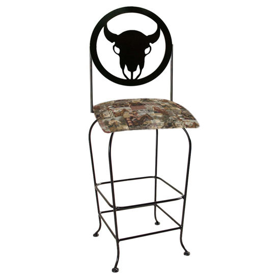 "Grace Collection Western Theme Steer Silhouette 30"" Seat Height Swivel Bar Stool"