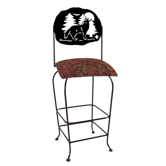 "Grace Collection Lodge Theme Wolf Silhouette 30"" Seat Height Swivel Bar Stool"