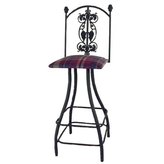 Grace Collection Grapes Swivel Bar Stool with Decorative Back and Fabric Seat 24""
