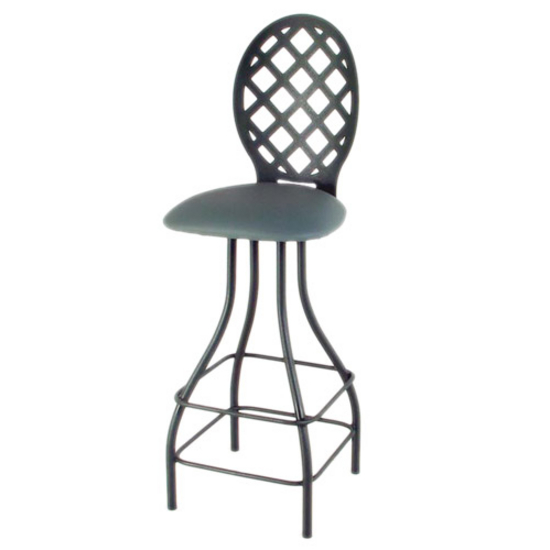 "Grace Collection 24"" Seat Height Lattice Back Swivel Stool with Memory Return"