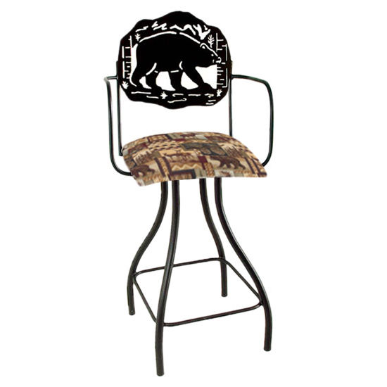 "Grace Collection Lodge Theme Bear Silhouette 24"" Seat Height Swivel Bar Stool w/Arms"