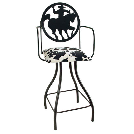 "Grace Collection Western Theme Cowboy Silhouette 24"" Seat Height Swivel Bar Stool w/Arms"