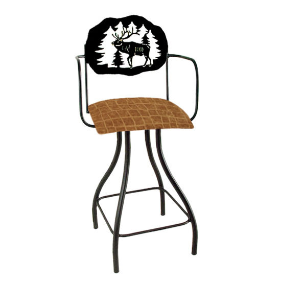"Grace Collection Lodge Theme Elk Silhouette 24"" Seat Height Swivel Bar Stool w/Arms"