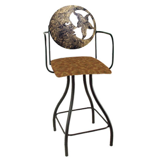 "Grace Collection Celestial Theme Moon Silhouette 24"" Seat Height Swivel Bar Stool w/Arms"