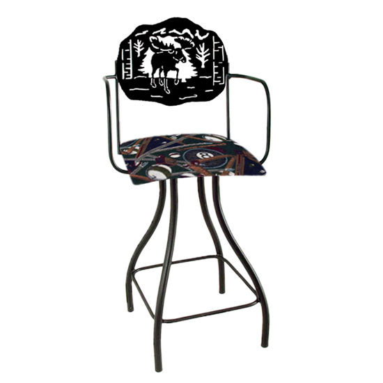 "Grace Collection Lodge Theme Moose Silhouette 24"" Seat Height Swivel Bar Stool w/Arms"